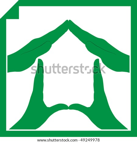 Conceptual vector illustration of a house symbol made from hands