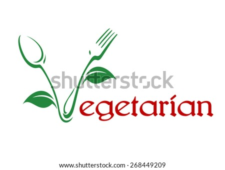 Conceptual vegetarian food icon with red text and the V formed of a spoon and fork in a stylized vine pattern with leaves in green - stock photo