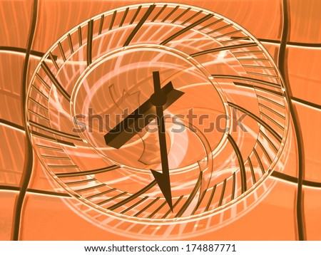 Conceptual view of a railway station clock � Time goes by quickly     - stock photo