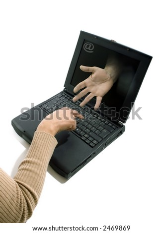 Conceptual view of an internet user finding a solution for a problem.Photographic image isolated on white background.