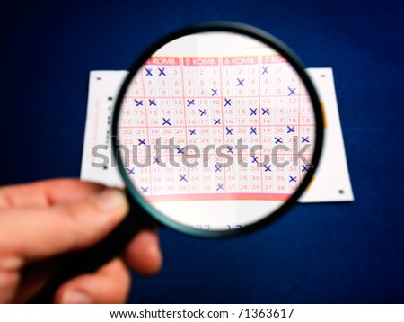 Conceptual view of analysis of lottery numbers - stock photo