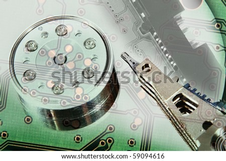 Conceptual view of hard drive and circuit board collage
