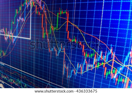 Conceptual view of the foreign exchange market. Stock market and other finance themes. Business analysis diagram. Market trading screen. Stock market graph and bar chart price display.   - stock photo