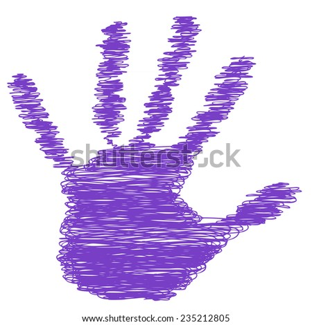 Conceptual violet or purple painted drawing hand shape print isolated white paper background for handmade or manual, art, line, children, scribble, education, grungy or sketch design made by a child - stock photo