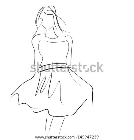 Conceptual women in dress, fashion hand drawing sketch - stock photo