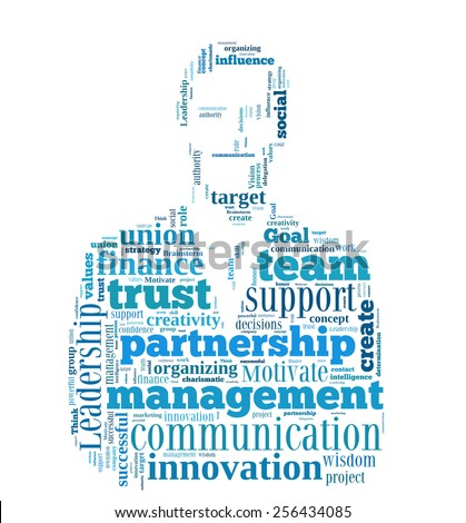 Conceptual  word cloud containing words related to leadership, business, innovation, success in shape of businessman - stock photo