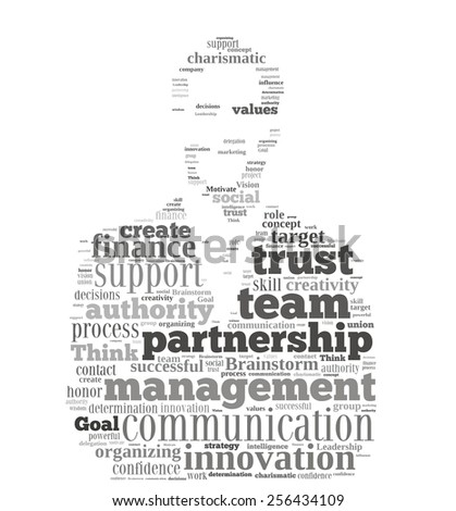 Conceptual  word cloud containing words related to leadership, business, innovation, success in shape of businessman