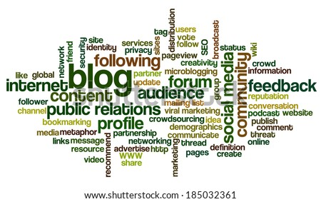 Conceptual word cloud containing words related to social media, marketing, blogs, social networks and Internet - stock photo