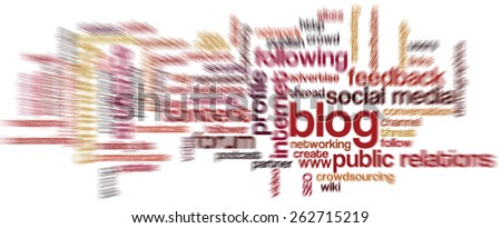 Conceptual word cloud containing words related to social media, marketing, blogs, social networks and Internet. Radial zoom blur. - stock photo
