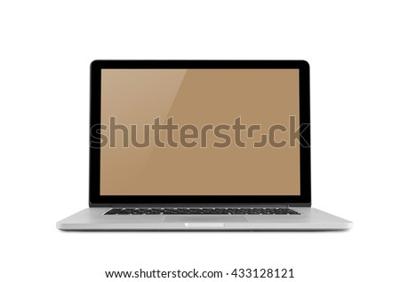 Conceptual workspace, Laptop isolated blank screen with clipping path.