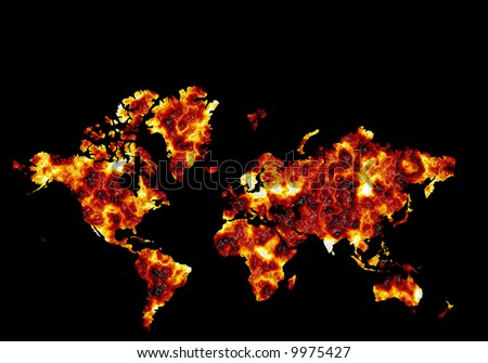 Conceptual world map burning and overheating showing effects of global warming and climate change with  black space on top for text - stock photo