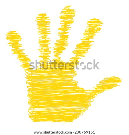 Conceptual yellow painted drawing hand shape print isolated on white paper background, for handmade or manual, art, line, children, scribble, education, grungy or sketch design, made by a child - stock photo