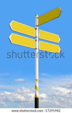 Conceptual yellow roadsign with empty direction arrows for business solutions or locations, on blue sky background (with clipping path) - stock photo