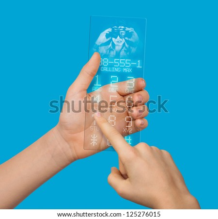 conceptually transparent mobile phone of the future with a hologram in hand
