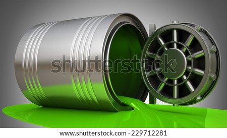 Concepy.  Paint Can with a Banking metallic door, vault. High resolution 3d  - stock photo