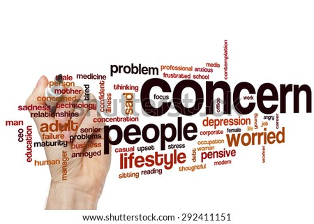Concern word cloud concept with sad problems related tags - stock photo