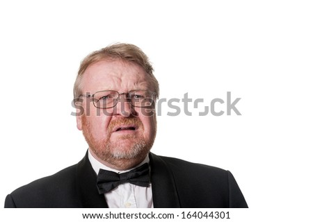 Grumpy Elderly Man On White Background Stock Photo ...