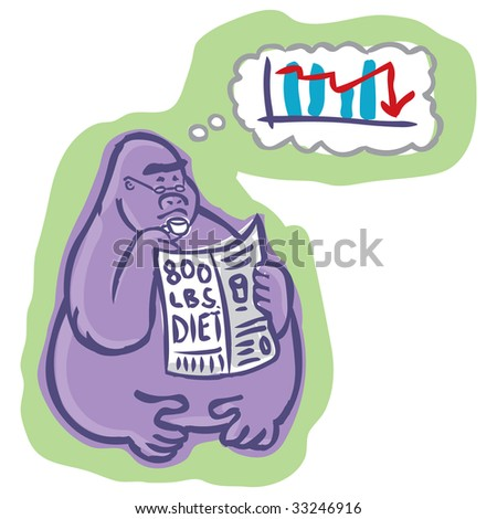 Concerned 800 pound gorilla thinking about economy while reading newspaper article on weight loss - stock photo