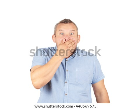 Concerned scared man. Afraid Guy. Isolated on white background. - stock photo