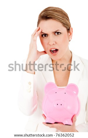 Concerned woman with her savings in a piggy bank ? isolated - stock photo