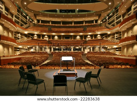 Concert hall view from stage - stock photo