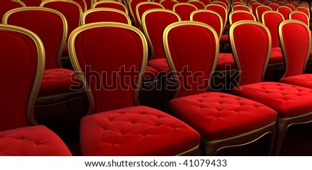 concert hall with red seat 3d rendering - stock photo