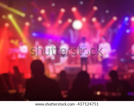Concert in Thailand, colorful lights background