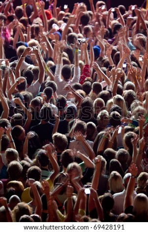 concert of famous jazzband acclaimed from hundreds of people - stock photo