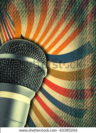 concert poster with microphone - stock photo