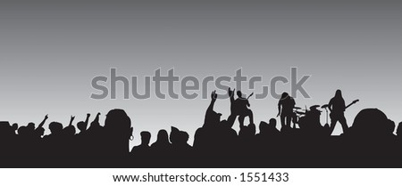 Concert silhouette panaramic view with crowd and four piece band. - stock photo