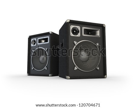 Concert speaker on white background. Computer generated image. - stock photo