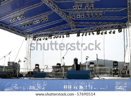 Concert stage before a music performance - stock photo