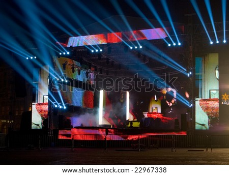 Concert stage prepared for event - stock photo