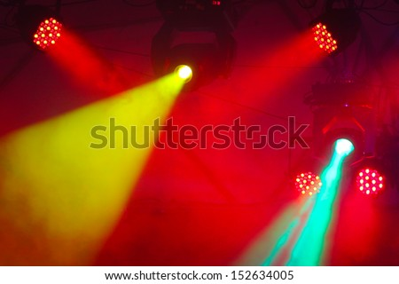 concert stage with colors spot light and smoke  - stock photo