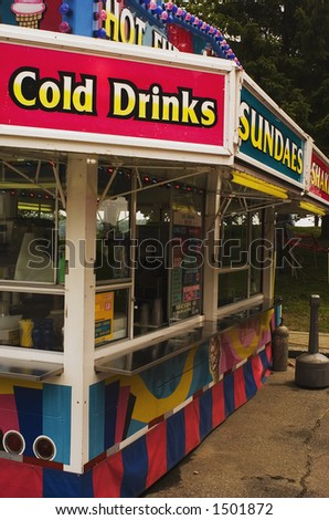 Concessions stand at a traveling amusement park