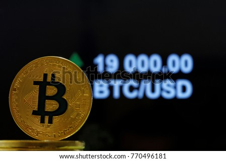 Concet Bitcoin Stock Market Price Going Stock Photo Royalty Free