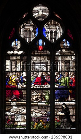 Conches, France - 14 June 2014 : Stained glass in french church. Scenes from the life of Jesus Christ : The last supper of the christ. - stock photo