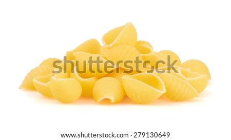Conchiglioni italian pasta isolated on white background - stock photo