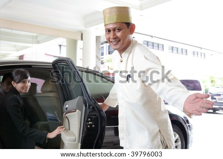 concierge at hotel - stock photo