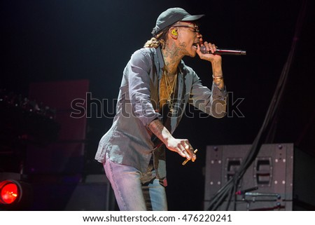 Concord, CA/USA - 8/28/16: Wiz Khalifa performs during The High Road tour in California.  He is a multi Grammy Award nominated artist.  He has also won a BET , Billboard , and Teen Choice Awards.