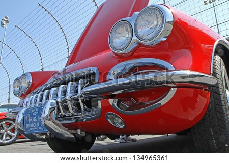 CONCORD, NC - APRIL 6:  A 1959 Chevrolet Corvette automobile on display at the Food Lion Auto Fair classic car show at Charlotte Motor Speedway in Concord, NC, April 6, 2013. - stock photo