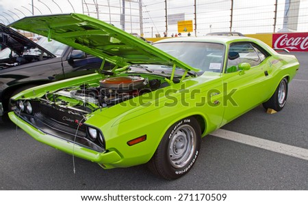CONCORD, NC -- APRIL 11, 2015:  A 1970 Dodge Challenger automobile on display at the Charlotte AutoFair classic car show held at Charlotte Motor Speedway. - stock photo