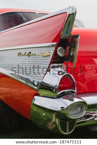 CONCORD, NC -- APRIL 05, 2014:  Closeup showing the hidden gas cap of a 1957 Chevrolet Bel Air automobile on display at the Charlotte AutoFair classic car show held at Charlotte Motor Speedway. - stock photo