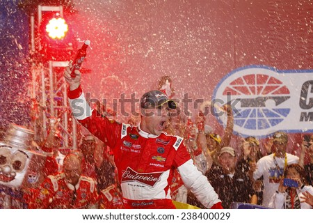 Concord, NC - Oct 11, 2014:  Kevin Harvick (4) wins the Bank of America 500 at Charlotte Motor Speedway in Concord, NC.  - stock photo