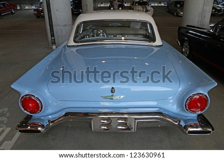 CONCORD, NC - SEPTEMBER 22:  A 1957 Ford Thunderbird automobile on display at the Charlotte AutoFair classic car show at Charlotte Motor Speedway in Concord, North Carolina, September 22, 2012. - stock photo
