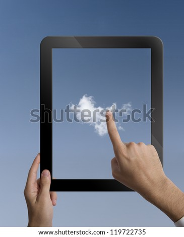 Concpet of cloud computing with  a tablet - stock photo