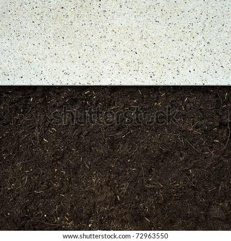 concrete and soil ground - stock photo