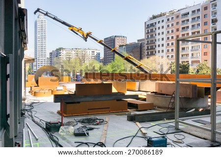 concrete and steel floor construction on building site - stock photo