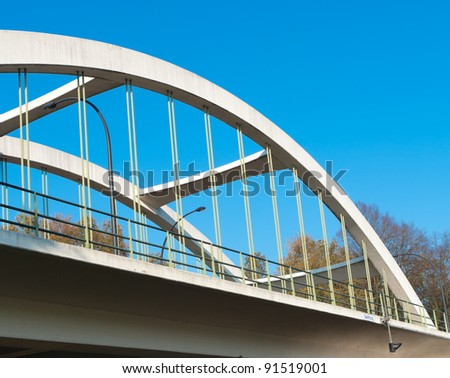 concrete arch bridge over the Twente canal in Hengelo, Netherlands - stock photo