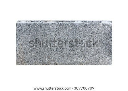 Concrete block isolated on white - stock photo